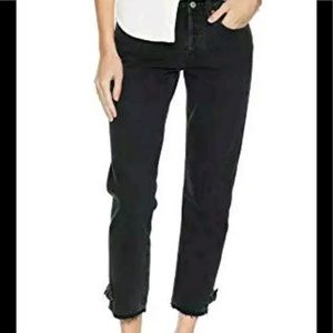 Levi's 501 Taper Cropped Black Jeans W/Ankle Bow